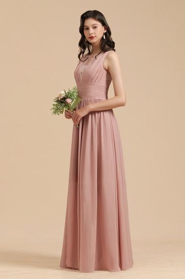BMbridal Dusty Rose Chiffon V-Neck Bridesmaid Dress Long_7