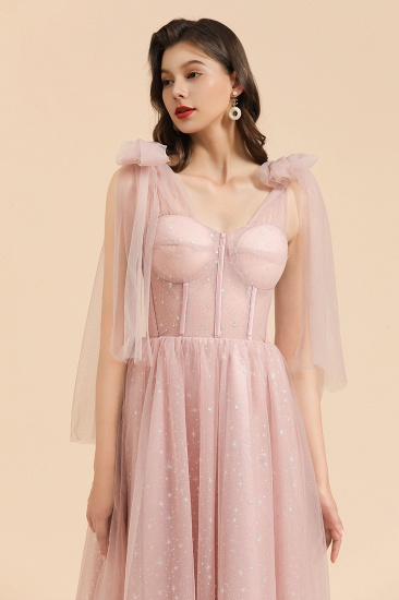 BMbridal V-neck Tulle Long Evening Pink Prom Dress Online_9