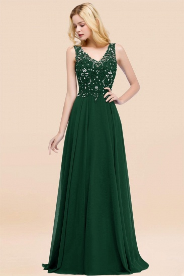 BMbridal Affordable Lace V-Neck Navy Bridesmaid Dresses With Appliques_31