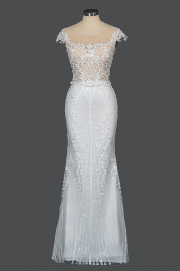BMbridal Detachable Lace Mermaid Wedding Dress With Cap Sleeves_12