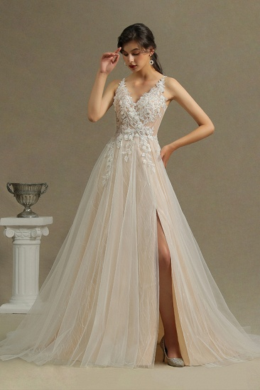 BMbridal V-Neck Sleeveless Lace Wedding Dress With Split_2