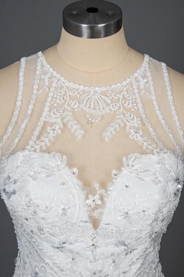 BMbridal Elegant Scoop Mermaid Lace Wedding Dress Zipper Button Back_11