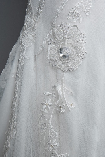 BMbridal Elegant Scoop Mermaid Lace Wedding Dress Zipper Button Back_6