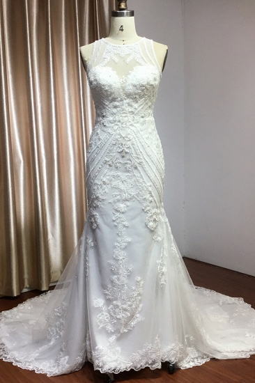 BMbridal Elegant Scoop Mermaid Lace Wedding Dress Zipper Button Back