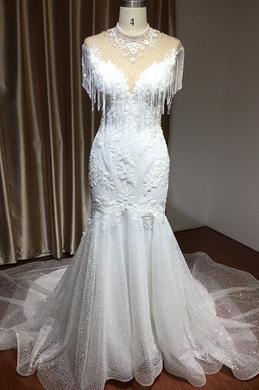 BMbridal Chic Mermaid Lace Wedding Dress With Tassels_2