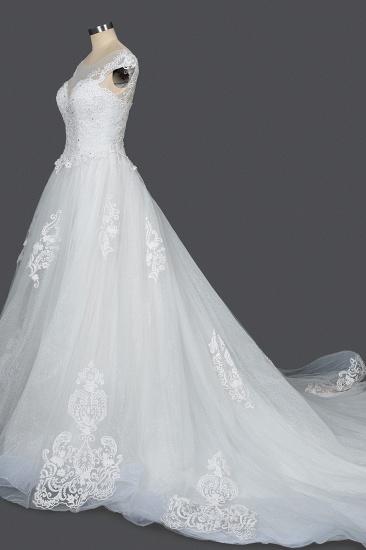 BMbridal Cap Sleeve Lace Wedding Dress Princess Bridal Gown Lace-up_3