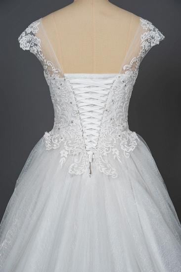 BMbridal Cap Sleeve Lace Wedding Dress Princess Bridal Gown Lace-up_4