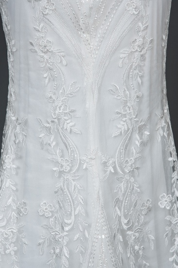 BMbridal Detachable Lace Mermaid Wedding Dress With Cap Sleeves_4