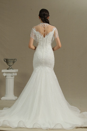 BMbridal Chic Mermaid Lace Wedding Dress With Tassels_4