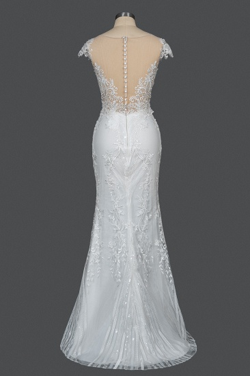 BMbridal Detachable Lace Mermaid Wedding Dress With Cap Sleeves_5