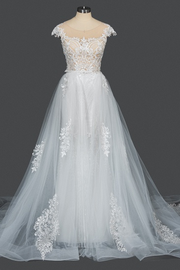 BMbridal Detachable Lace Mermaid Wedding Dress With Cap Sleeves_13