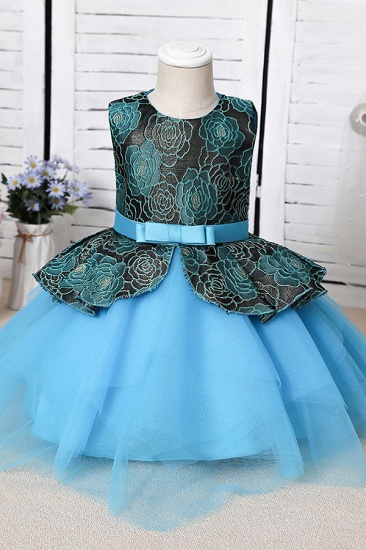 BMbridal Blue Mix Black Lace Flower Girl Dress