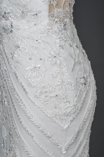BMbridal Elegant Scoop Mermaid Lace Wedding Dress Zipper Button Back_3