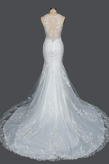 BMbridal Elegant Scoop Mermaid Lace Wedding Dress Zipper Button Back_2