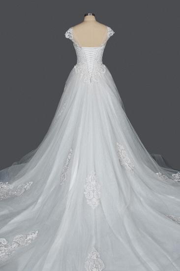 BMbridal Cap Sleeve Lace Wedding Dress Princess Bridal Gown Lace-up_2