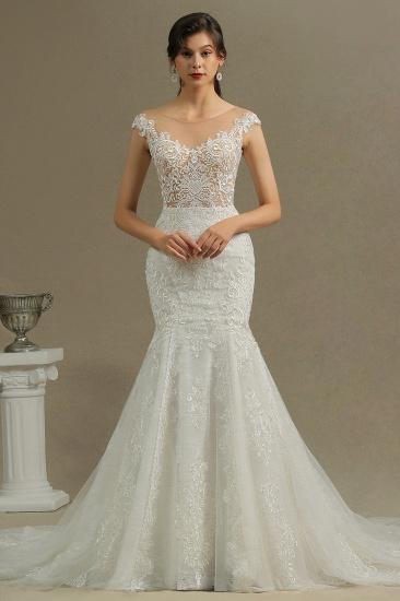 BMbridal Cap Sleeves Lace Mermaid Long Wedding Dress_2