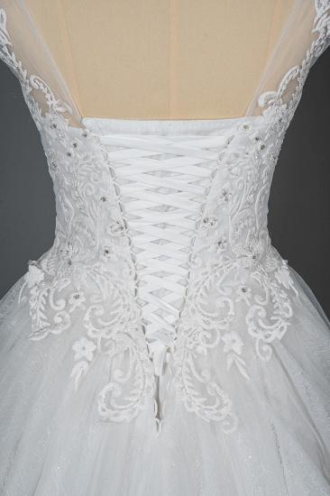BMbridal Cap Sleeve Lace Wedding Dress Princess Bridal Gown Lace-up_6