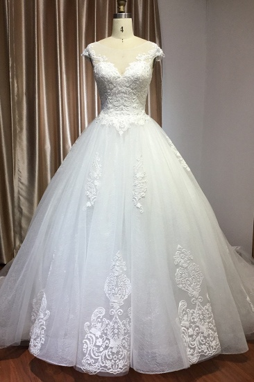 BMbridal Cap Sleeve Lace Wedding Dress Princess Bridal Gown Lace-up