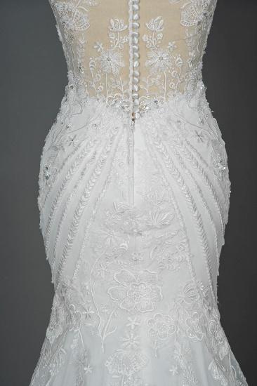 BMbridal Elegant Scoop Mermaid Lace Wedding Dress Zipper Button Back_13