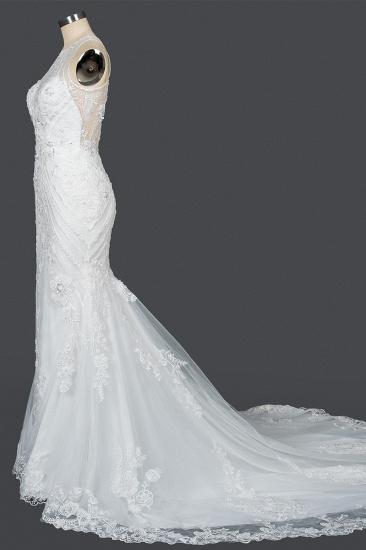 BMbridal Elegant Scoop Mermaid Lace Wedding Dress Zipper Button Back_8