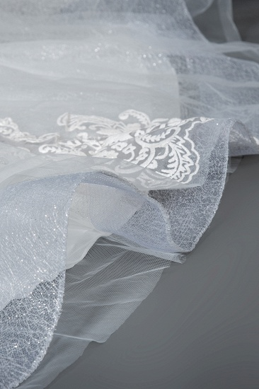 BMbridal Cap Sleeve Lace Wedding Dress Princess Bridal Gown Lace-up_5