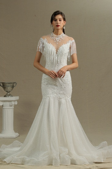BMbridal Chic Mermaid Lace Wedding Dress With Tassels_3