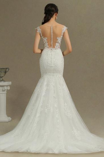 BMbridal Cap Sleeves Lace Mermaid Long Wedding Dress_3