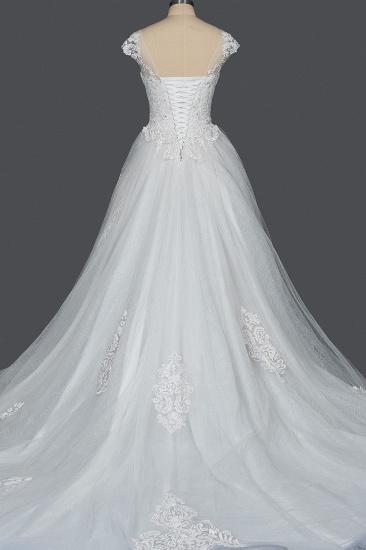 BMbridal Cap Sleeve Lace Wedding Dress Princess Bridal Gown Lace-up_7