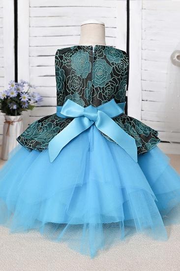 BMbridal Blue Mix Black Lace Flower Girl Dress_6