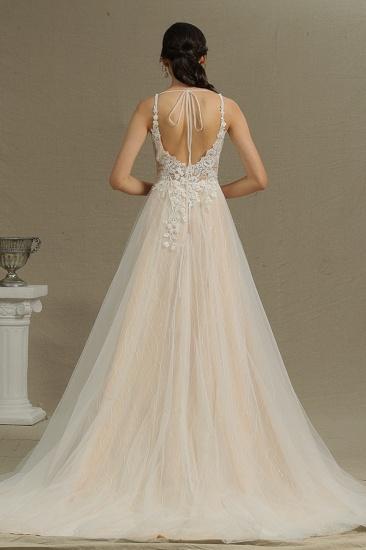 BMbridal V-Neck Sleeveless Lace Wedding Dress With Split_3