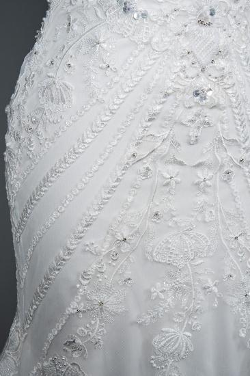 BMbridal Elegant Scoop Mermaid Lace Wedding Dress Zipper Button Back_7