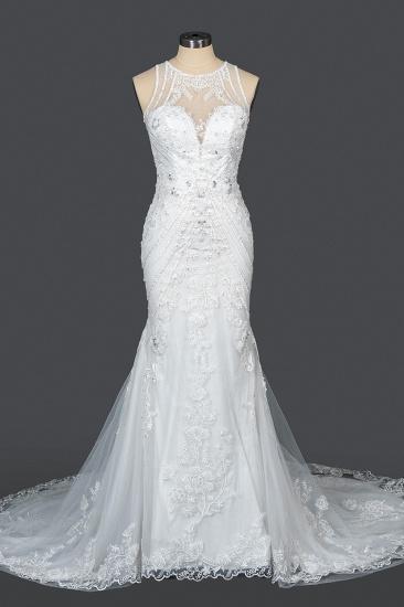 BMbridal Elegant Scoop Mermaid Lace Wedding Dress Zipper Button Back_12