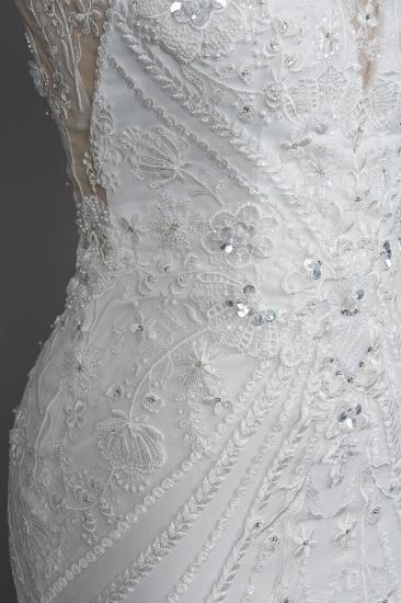 BMbridal Elegant Scoop Mermaid Lace Wedding Dress Zipper Button Back_9