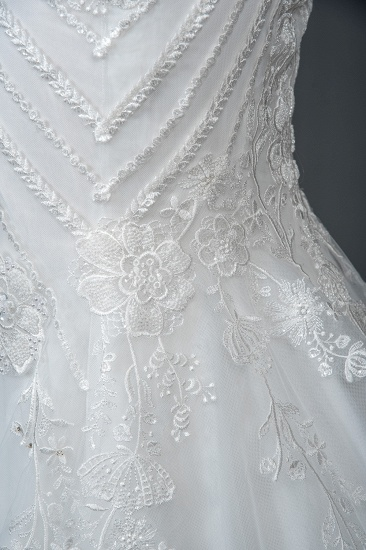 BMbridal Elegant Scoop Mermaid Lace Wedding Dress Zipper Button Back_4