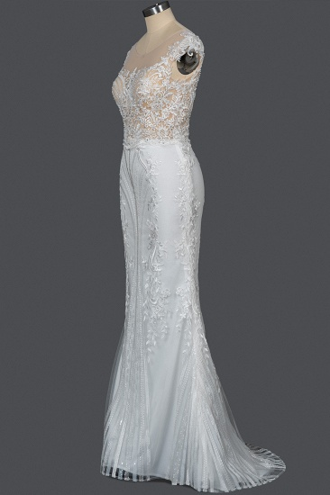 BMbridal Detachable Lace Mermaid Wedding Dress With Cap Sleeves_10