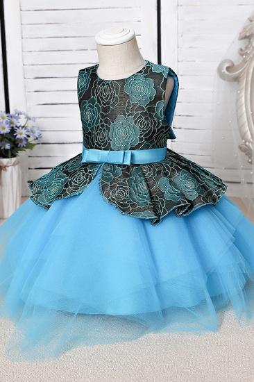 BMbridal Blue Mix Black Lace Flower Girl Dress_7