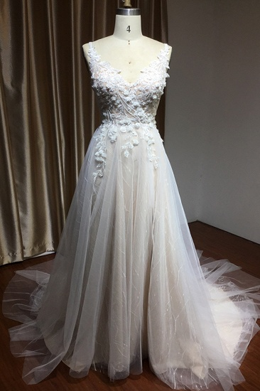 BMbridal V-Neck Sleeveless Lace Wedding Dress With Split