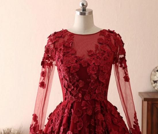BMbridal Elegant Long Sleeve Burgundy Prom Dress Lace Evening Gowns_4