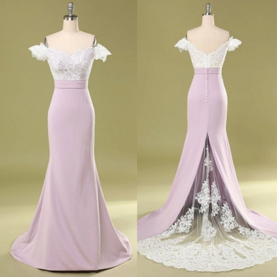 BMbridal Glamorous Off-the-Shoulder Mermaid Bridesmaid Dress Lace_2