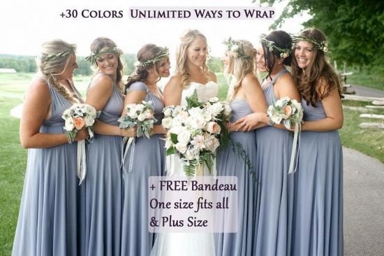 BMbridal Convertible Dusty Blue Spandex Bridesmaid Dress One Size_3