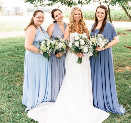 BMbridal Convertible Dusty Blue Spandex Bridesmaid Dress One Size_6