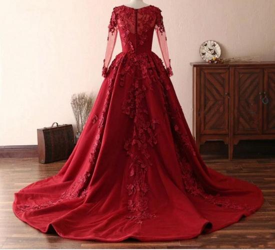 BMbridal Elegant Long Sleeve Burgundy Prom Dress Lace Evening Gowns_2