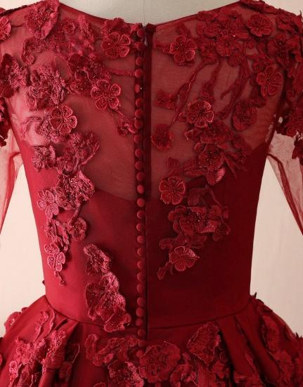 BMbridal Elegant Long Sleeve Burgundy Prom Dress Lace Evening Gowns_3