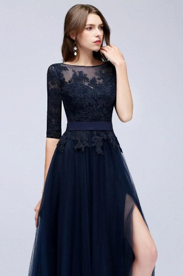 Elegant Navy Blue Half Sleeve Long Tulle Prom Dress With Lace Appliques_5