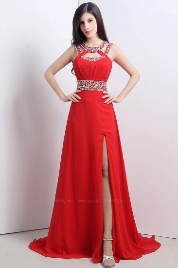 A Line High Slit Long Red Chiffon Beaded Prom Dresses_1