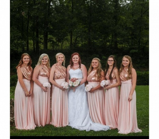 BMbridal Nude Pink Multiway Infinity Bridesmaid Dress