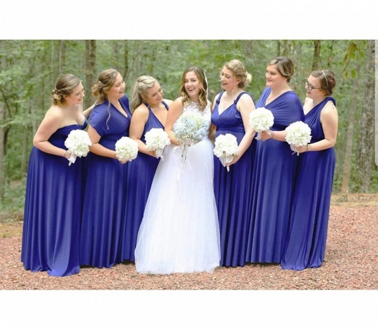 BMbridal Royal Blue Ruffles Multiway Infinity A-Line Bridesmaid Dresses