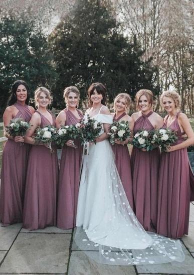 BMbridal Purple Multiway Infinity Ruffles A-Line Bridesmaid Dresses_1