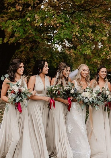 BMbridal Silver Multiple A-Line Bridesmaid Dresses Long_1