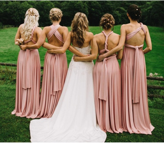BMbridal Dusty Pink Ruffles Multiway Infinity A-Line Bridesmaid Dresses_2